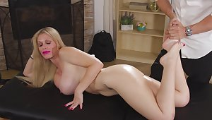 Shagging on the sofa with cheating blonde wife Casca Akashova