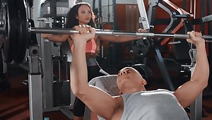 Ebony gets diverse with a cock down at the gym