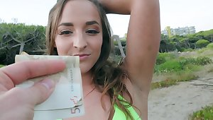 Fucked for cash in incredible outdoor XXX play