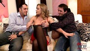 Raunchy MILF Colette Threesome Sex Video