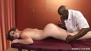 Jennifer White has some fun up a louring masseur