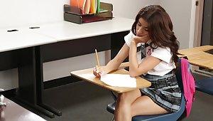 Cute schoolgirl fucking the brush teacher
