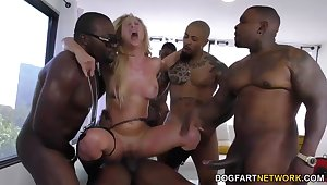 Cherie DeVille gets gangbanged unconnected with big black cocks