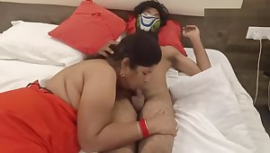 Mature wife giving blowjob to husband adjacent to hotel