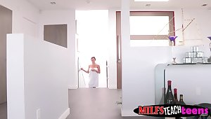 MILF shows stepson with an increment of his girlfriend anyway to have some fun