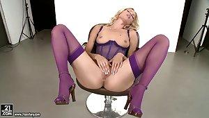 Appealing Sophie Moone in lingerie gets naughty