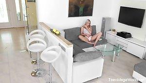 Some hidden can vid of naughty girl Angelika Grow teasing herself on sofa