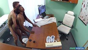 Naked ebony filmed in secret during hard mating apropos her physician