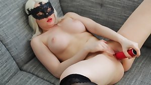 blonde beauty girl masturbate red dildo. Natural pleasure with unconditioned orgazm