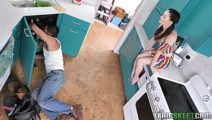 Plumber provides lecherous services after fixing a leak under get under one's sink