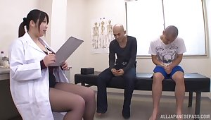 Big boobs Japanese Shizuku Amayoshi added to two untrained dudes. HD