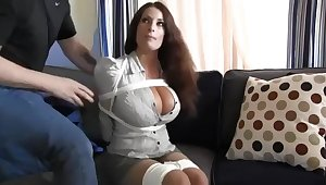 Buxomy housewife gets immensely crazy when she gets corded up and left on the surprise