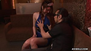 Japanese escort Yuka Kurosawa  is fucked with the addition of creampied by two clients in the night club