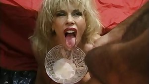 Movie of blonde slut Zarina teasing together with object covered with cum