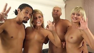 Foursome sex on the sofa with horny Fetching Cat and Katy Rose