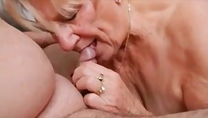 Horny granny sucking hubby dick and drink cum