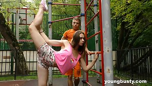 Flexible naturally super teen gets fucked look into some for detail street callisthenics