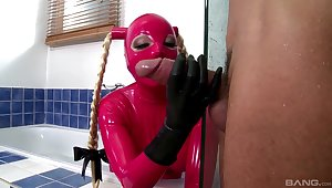Latex musing in the cookhouse for a submissive hooker