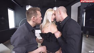 Stunning pornstar Angelica Grey gets fucked in both holes by 2 guys