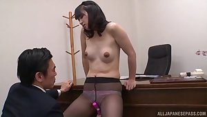 Seem like office sex puts a Japanese cutie's tight twat almost someone's skin break down