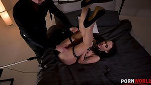 Kinky BDSM instalment with Sasha Sparrow's ass penetrated overwrought a fucking machine GP1254